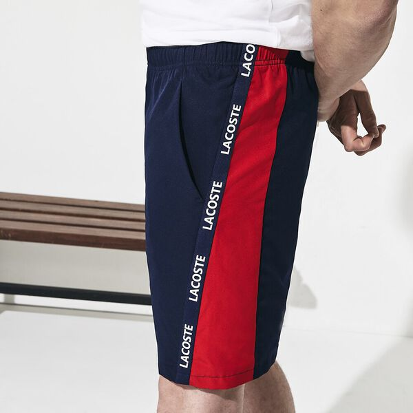 Men's Tennis Short With Taping, NAVY BLUE/RED-WHITE, hi-res