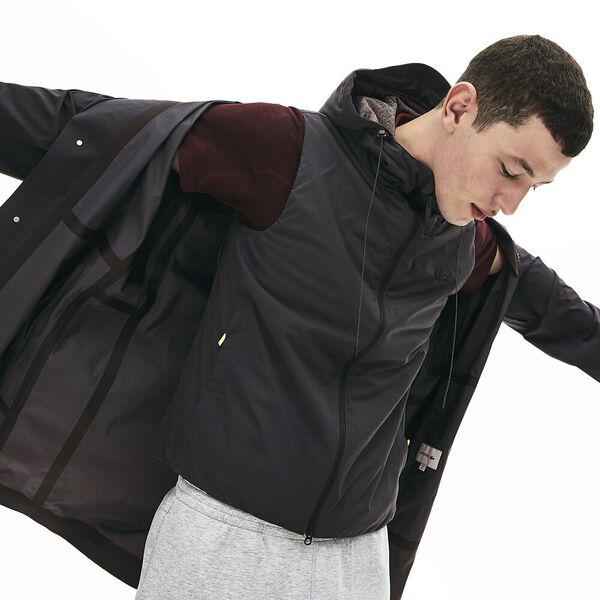Men's Lacoste Motion Padded Nylon Jacket, GRAPHITE SOMBRE, hi-res