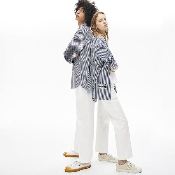 Unisex Lacoste LIVE Boxy Fit Striped Cotton Shirt