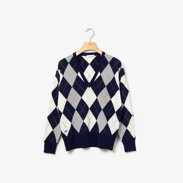 Women's Heritage Argyle V Neck Knit, NAVY BLUE/SILVER CHINE-FLOUR, hi-res