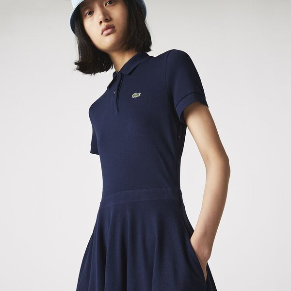 Women's Fitted Polo Dress, NAVY BLUE, hi-res