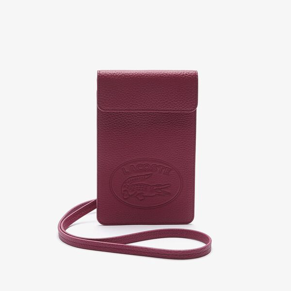 Women's Croco Crew Flap Grained Leather Smartphone Pouch