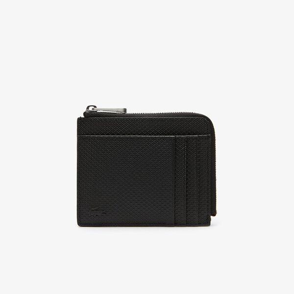 Men's Chantaco Matte Piqué Leather Zip 4 Card Holder, BLACK, hi-res