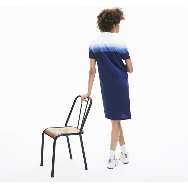 Women's Made in France Cotton Piqué Polo Dress, METHYLENE/TURQUIN-BLANC, hi-res