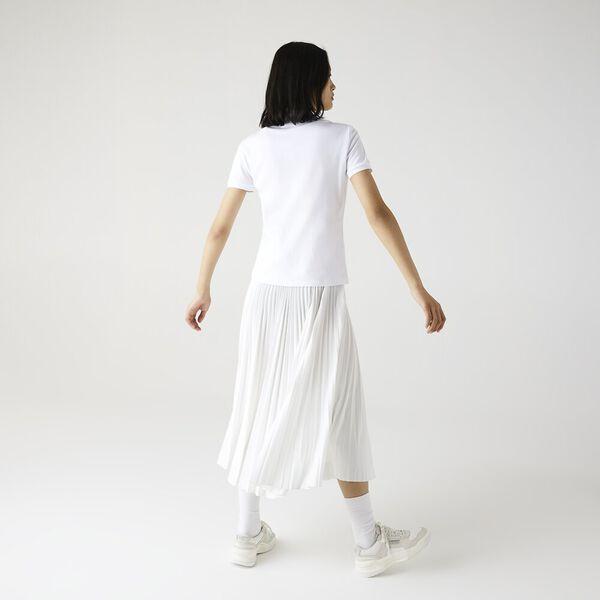 Women's Stretch Cotton Piqué Polo Shirt, BLANC, hi-res