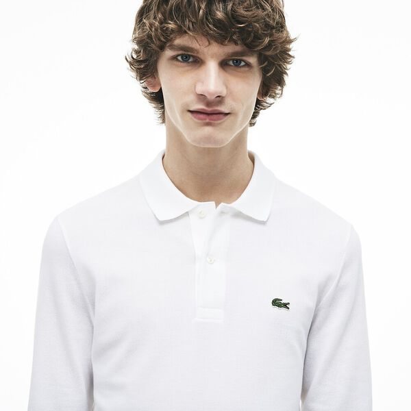 Men's Long Sleeve Classic Fit Polo, WHITE, hi-res