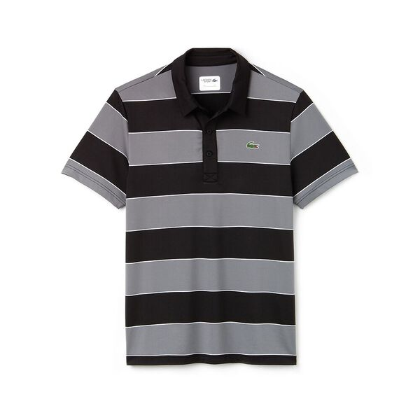 MEN'S RUGBY STRIPE GOLF POLO, BLACK/LEAD GREY/WHITE, hi-res