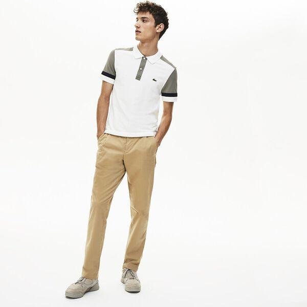 Men's Colour Block Slim Fit Pima Polo, FLOUR/SERGEANT-NAVY BLUE, hi-res