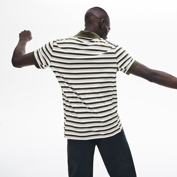 Men's Lacoste Motion Thin Reg Fit Polo, FLOUR/BAOBAB-SILVER CHINE, hi-res