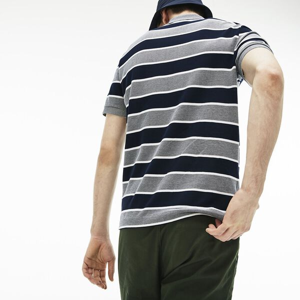 MEN'S BIRDS EYE STRIPE POLO, FLOUR/NAVY BLUE/WHITE, hi-res