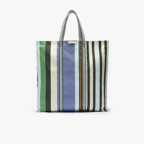 Women's Striped Cotton Canvas Tote Bag