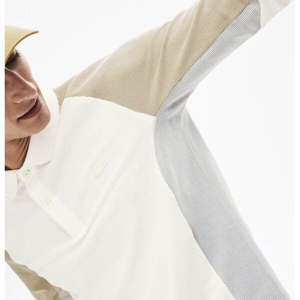 Men's  Long-Sleeved Colourblock Piqué Polo Shirt, FARINE/NIMBUS-PLAGE, hi-res