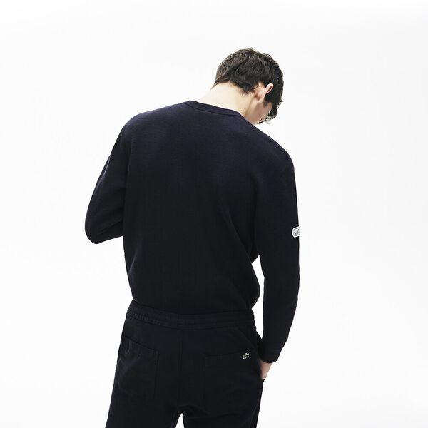 Men's Band Design Heritage Knit Sweater, MARINE SOMBRE/NOIR-VERT-FARINE, hi-res