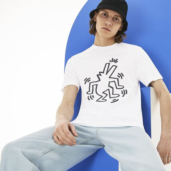 MEN'S KEITH HARING CROCODILE TEE, WHITE, hi-res