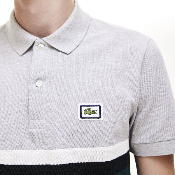 Men's 90S Sportswear Reg Fit Polo, SILVER CHINE/FLOUR-BLACK, hi-res