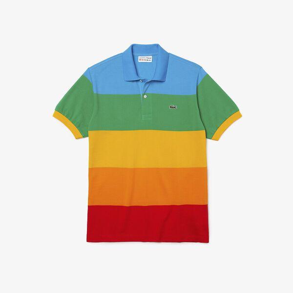 Men's Lacoste x Polaroid Color Striped Cotton Piqué Polo, FIJI/MALACHITE-GYPSUM-ORP, hi-res