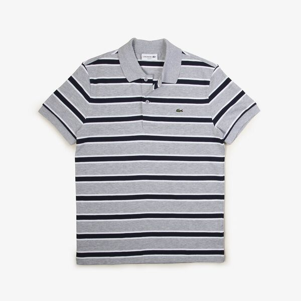 Men's Striped Slim Fit Stretch Polo, SILVER CHINE/WHITE-NAVY BLUE, hi-res