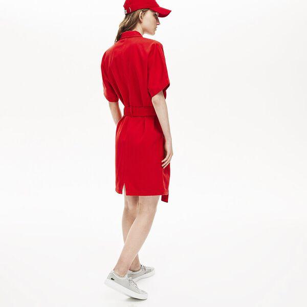 WOMEN'S GABERDINE POCKET DRESS, SALVIA, hi-res