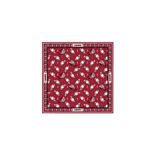 Unisex Lacoste LIVE Print Lightweight Cotton Scarf, ROUGE/MULTICO, hi-res