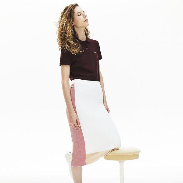 Women's Classic Fit Soft Cotton Petit Piqué Polo Shirt, PRUNEAU, hi-res