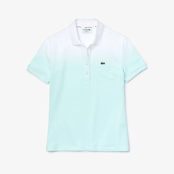 Women's Made in France Organic Cotton Piqué Polo Shirt, IGLOO/IGLOO CLAIR-BLANC, hi-res