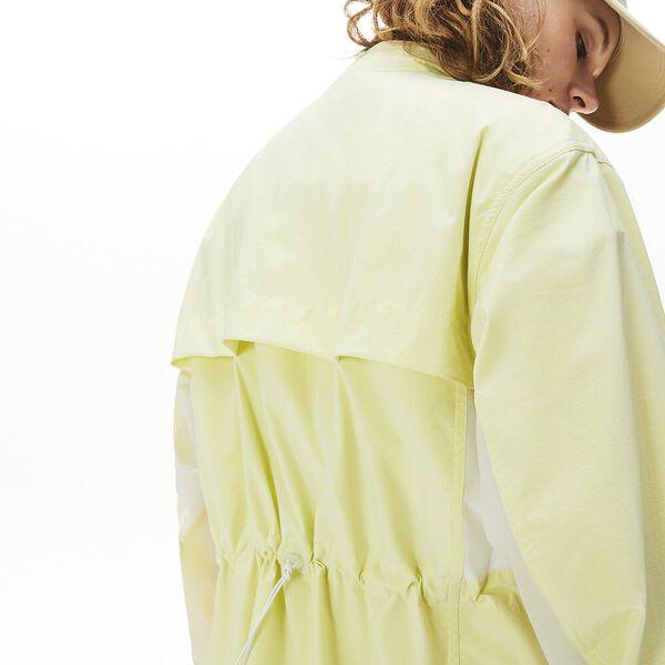 Women's Water-Resistant Long Nylon Parka, BLANC/CITRONNIER, hi-res