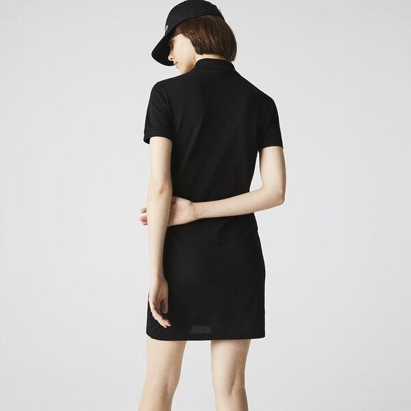 Women's LIVE Stretch Cotton Polo Dress, BLACK, hi-res