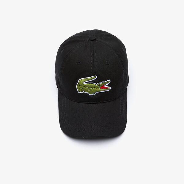 Men's Contrast Strap And Oversized Crocodile Cotton Cap, NOIR, hi-res