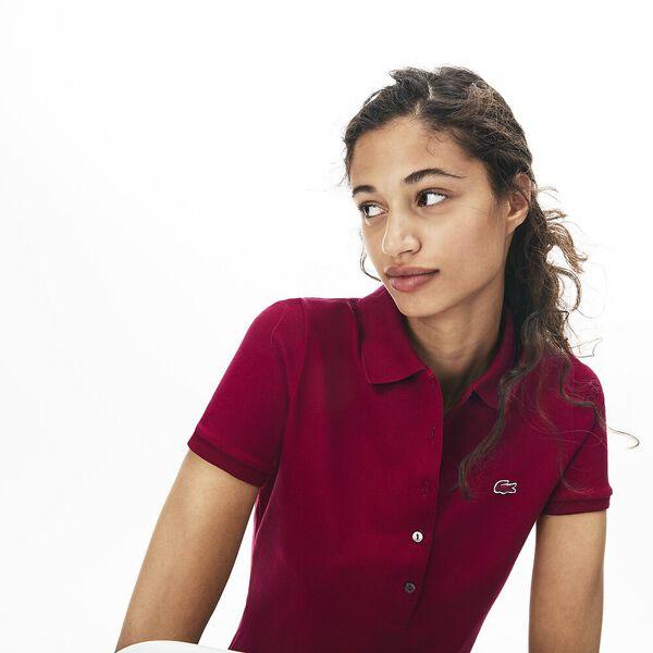 Women's 5 Button Slim Stretch Core Polo, BORDEAUX, hi-res