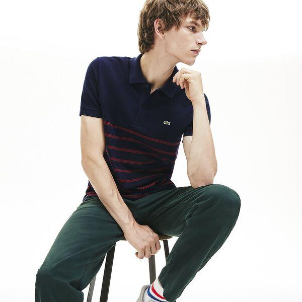 Men's Stripe Reg Fit 2 Ply Polo, NAVY BLUE/ALIZARIN, hi-res