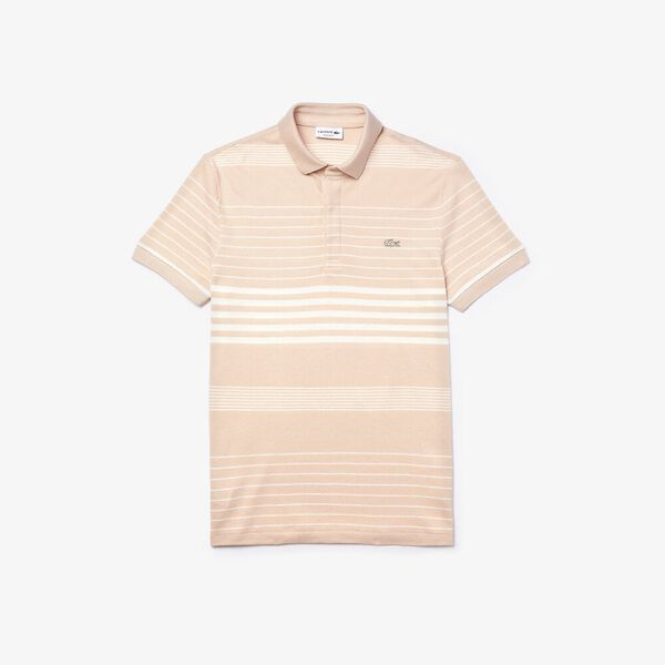 Men's Striped Linen And Cotton Regular Fit Polo Shirt, CORRIDA/BLANC, hi-res