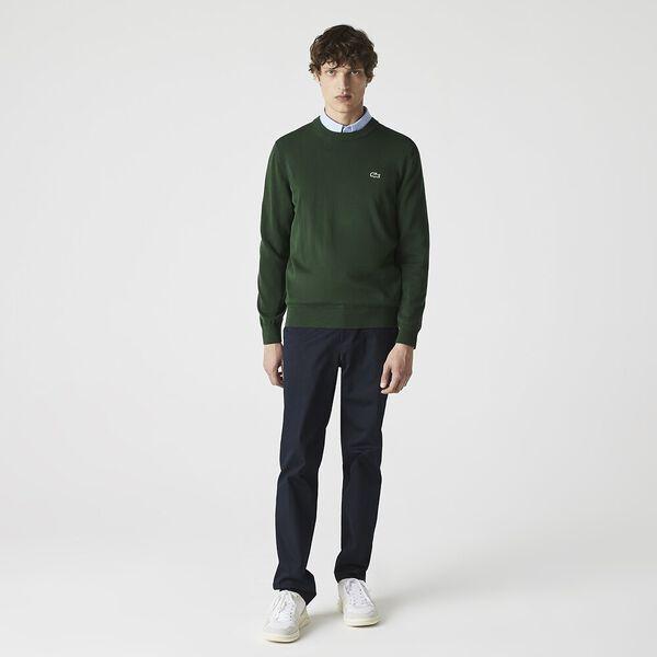 Men's Organic Cotton Crew Neck Sweater, GREEN, hi-res