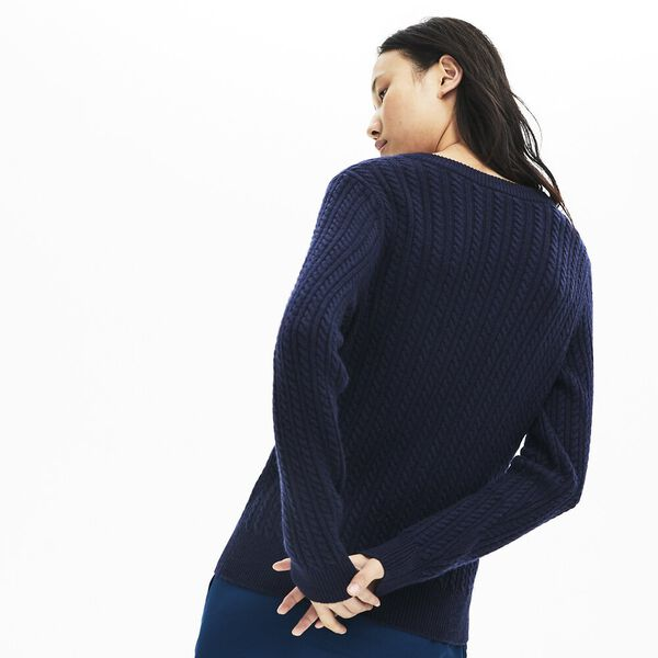 Women's Classic Cable V Neck Knit, NAVY BLUE, hi-res