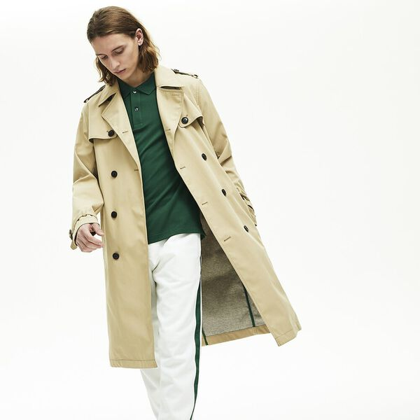 Men's Long Belted Cotton Trench Coat, VIENNESE, hi-res