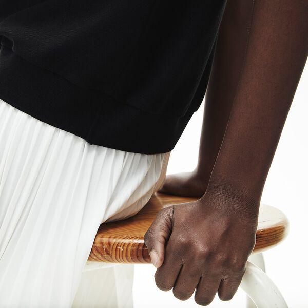 Women's Flowy Piqué Shirt, BLACK, hi-res