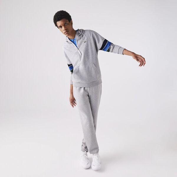 Men's SPORT Hooded Colourblock Fleece Sweatshirt, SILVER CHINE/NAVY BLUE-UT, hi-res