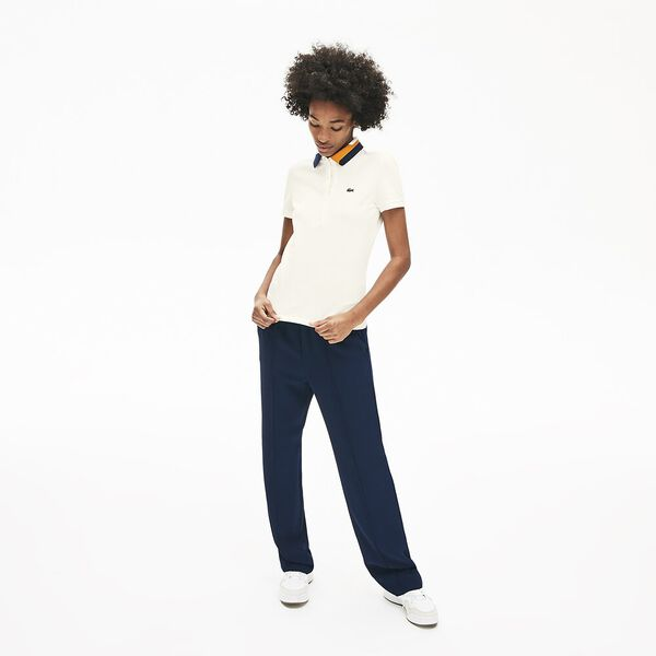 Women's Clean Stripes Slim Fit Polo, FLOUR, hi-res
