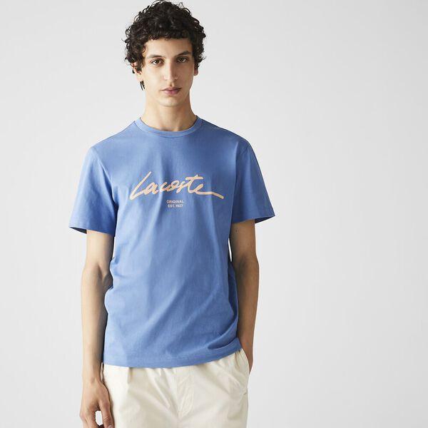 Men's Crew Neck Print Lettering Cotton T-shirt