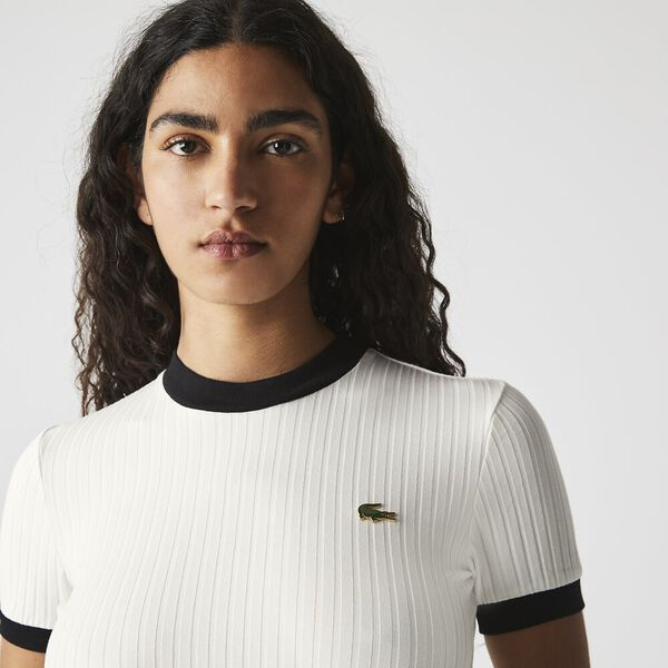 Women's LIVE Crew Neck Contrast Accent Ribbed T-shirt