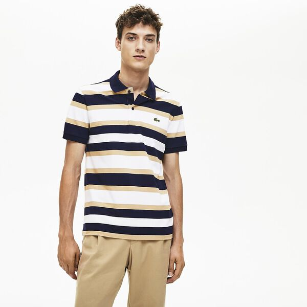 Men's Golden Week Reg Fit Stripe Polo, WHITE/VIENNESE-NAVY BLUE, hi-res