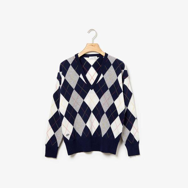 Women's Heritage Argyle V Neck Knit, NAVY BLUE/SILVER CHINE-FLOUR, hi-res