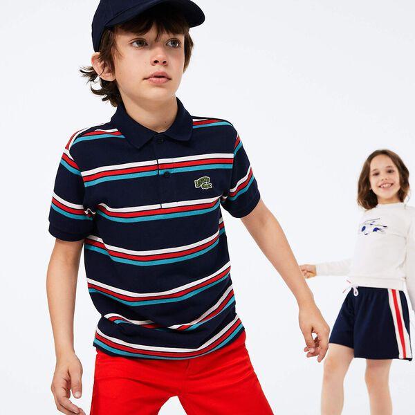 Boy's Badge Striped Cotton Piqué Polo Shirt, MARINE/MULTICO, hi-res