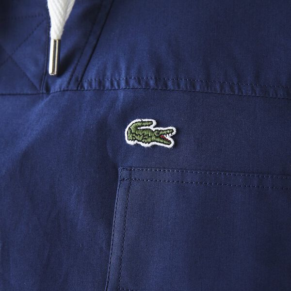 Men's Solid Water-Resistant Canvas Hooded Overshirt, SCILLE, hi-res