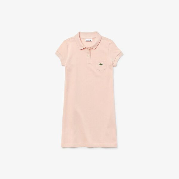 Girl's flared dress in solid mini piqué cotton, LITCHI, hi-res
