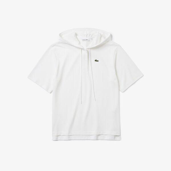 Women's Solid Cotton Piqué Hooded Polo Shirt, BLANC, hi-res