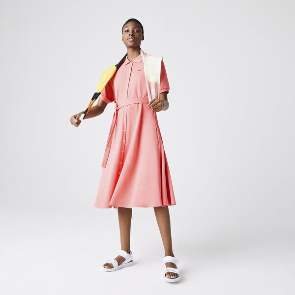 Women's Cotton Piqué Belted Polo Dress, AMARYLLIS, hi-res