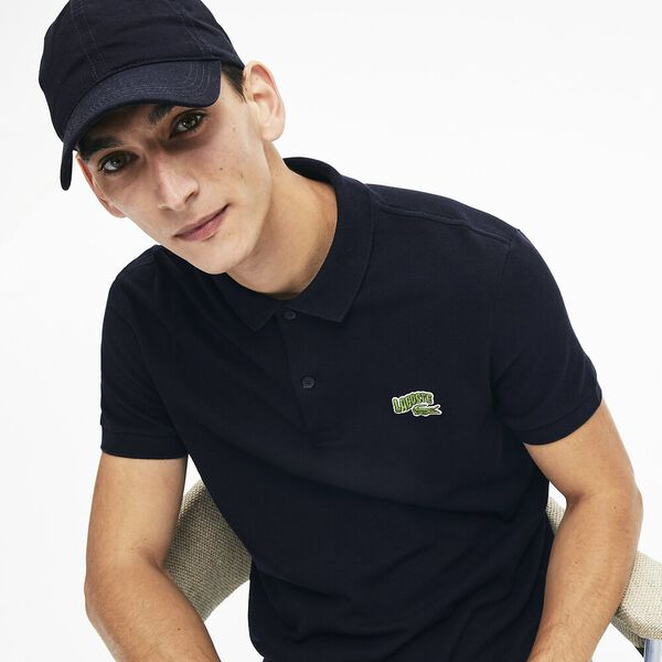 Men's Lacoste Embroidered Badge Regular Fit Cotton Piqué Polo Shirt, NAVY BLUE, hi-res