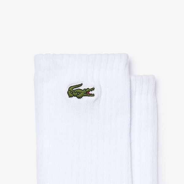 Unisex Lacoste LIVE Embroidered Tennis Player Ribbed Socks, BLANC/NOIR, hi-res