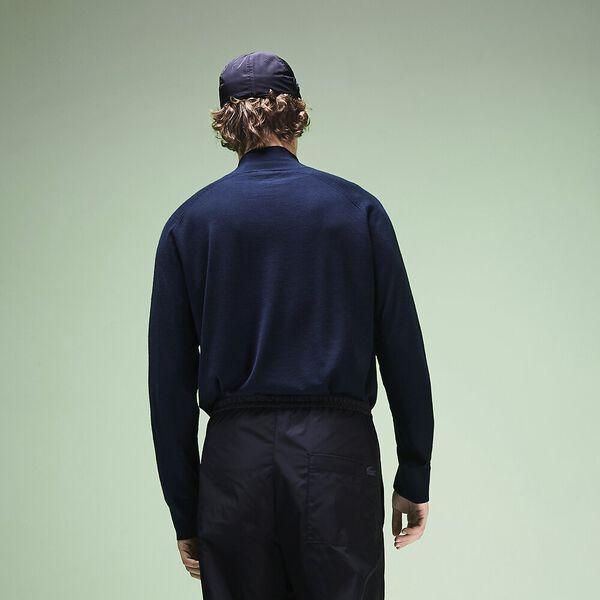 Unisex Fashion Show Iconics Polo Neck Knit, NAVY BLUE/FLOUR, hi-res