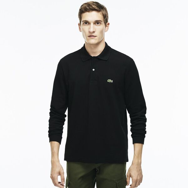 MEN'S CLASSIC FIT LONG-SLEEVE POLO, BLACK, hi-res